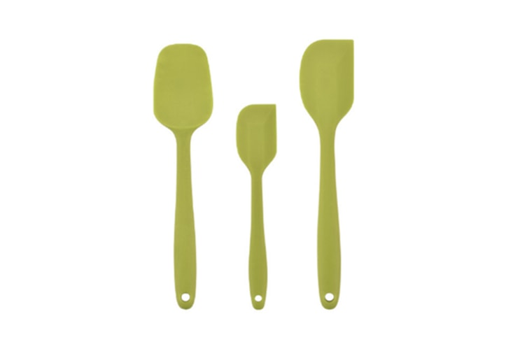 Select Mall 3PCS Silicone Spatula Set Heat Resistant Non Stick Rubber Kitchen Spatulas for Cooking Baking and Mixing Pro Grade Silicone-Green