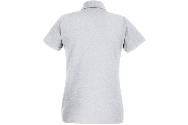 Womens/Ladies Fitted Short Sleeve Casual Polo Shirt (Grey Marl) (Small)