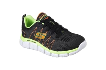 Skechers Childrens Boys Skech-Flex 2.0 Quick Pick Lace-Up Trainers (Black/Lime) (11.5 Child UK)
