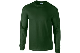 Gildan Mens Plain Crew Neck Ultra Cotton Long Sleeve T-Shirt (Forest Green)