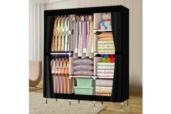 Large Portable Clothes Closet Canvas Wardrobe Black