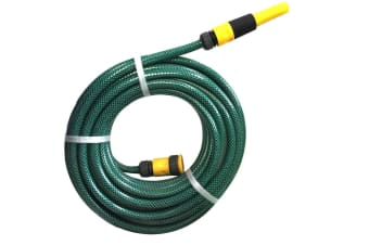 "15m x 1/2"" Fitted Water Garden Hose Pipe Watering Spray GRN Australian Made"
