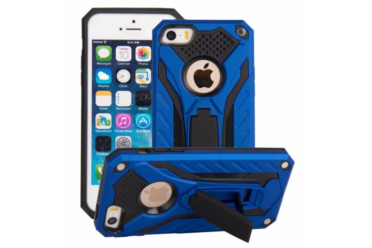 For iPhone 5  5S & SE Case  Armour Strong Shockproof Cover with Kickstand  Blue
