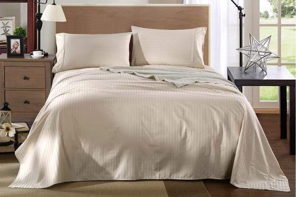 Royal Comfort Kensington 1200TC 100% Egyptian Cotton Stripe Bed Sheet Set  (Queen, Beige