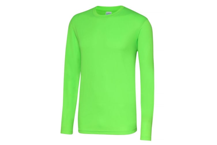 Just Cool Mens Long Sleeve Cool Sports Performance Plain T-Shirt (Electric Green) (S)