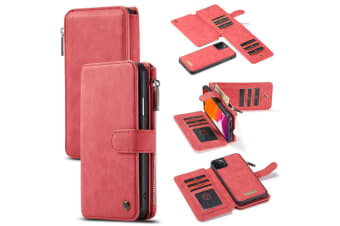 For iPhone 11 Pro Case  Wallet PU Leather Detachable Flip Cover  Red
