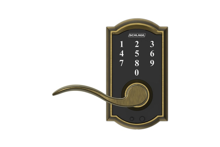 Schlage Touch Keyless Touchscreen Lever with Camelot Trim and Accent Lever (Antique Brass)