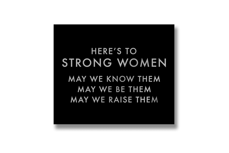 Hill Interiors Heres To Strong Women Metallic Detail Plaque (Black/Silver) (One Size)