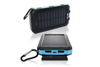 Maxxlee 10000mAh Solar Power Bank Dual USB Battery Charger Portable Torch Light Compass