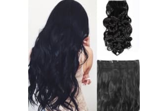 """2Pcs Black Brown High Grade Synthetic Hair Wavy Curly Clip-In Hair Extension 5 Clips 22"""" 2X"""