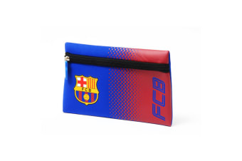 FC Barcelona Official Football Crest Design Fade Flat Pencil Case (Red/Blue) (One Size)