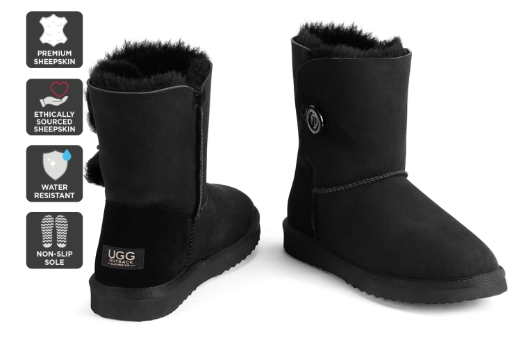 Outback Ugg Boots Short Button - Premium Sheepskin (Black, 8M / 9W US)