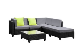 Monaco 6 Piece Wicker Outdoor Lounge Set (Black/Grey)