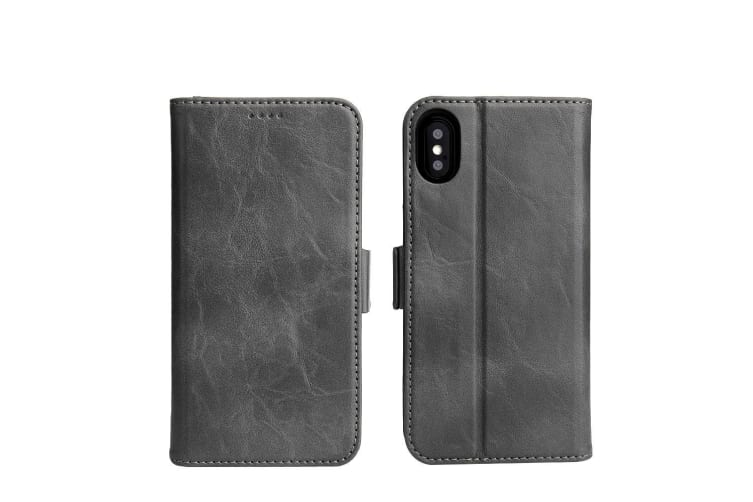 For iPhone XS X Wallet Case Fierre Shann Elegant Detachable Leather Cover Grey