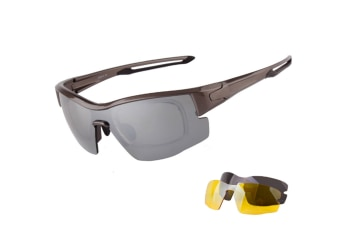 Anti-Ultraviolet Bike Spectacles Polarization Removable Lens 3-Piece Suit - 2 Grey 3Pcs