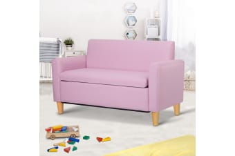 Artiss Storage Kids Sofa Children lounge Chair Couch PU Leather Padded Pink