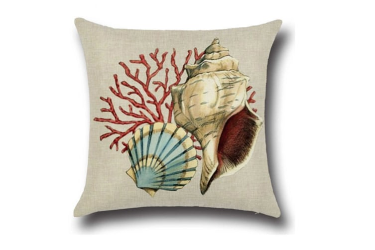 "4 Pack Ocean Theme Seashell Pattern Square Cotton Throw Pillow Cover 18"" X 18"""