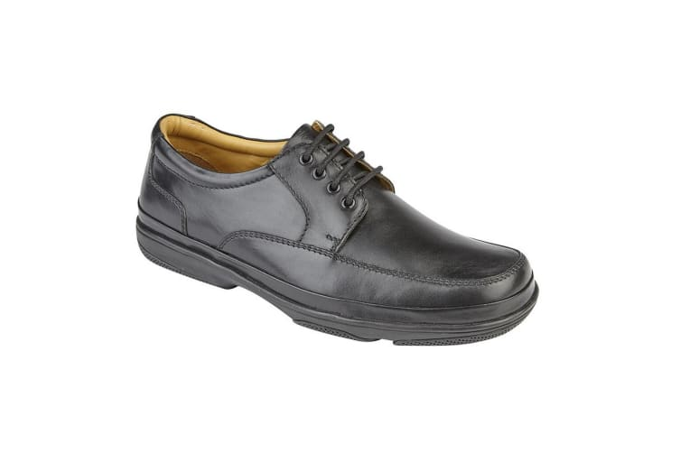 Roamers Mens Leather Wide Fit 4 Eye Deluxe Casual Shoes (Black) (12 UK)