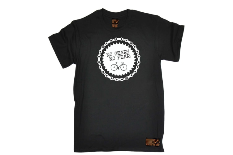 Ride Like The Wind Cycling Tee - No Gears Fear - (Small Black Mens T Shirt)