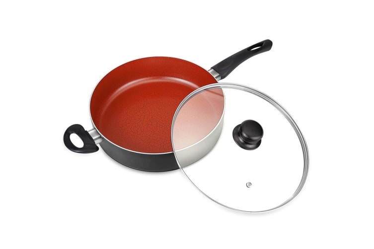Non-Stick Saute Pan w/ Lid Hard-Anodized Deep Skillet Frying  Fry Pan Induction