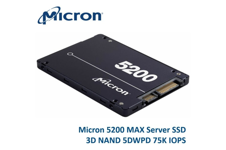 Crucial Micron 5200 MAX 1.92TB 2.5' SATA3 6Gbps 7mm Server Data Centre SSD 3D