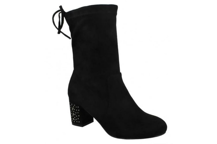 Spot On Womens/Ladies Mid Chunky Heel Calf High Boots (Black P) (UK 8)