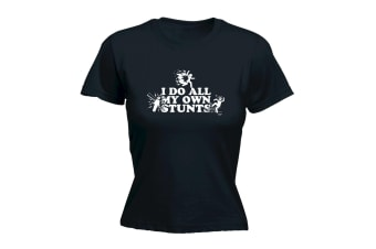 123T Funny Tee - Accidents I Do All My Own Stunts - (Small Black Womens T Shirt)