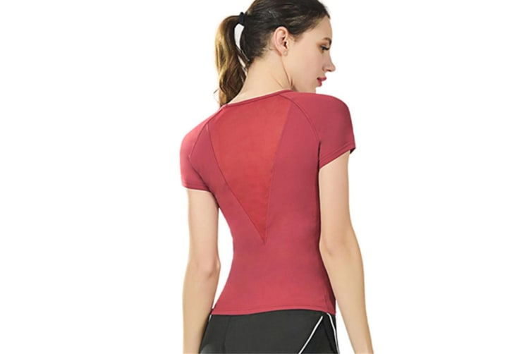 Women'S Active Workout Running Tshirt Short Sleeve Wine Red L