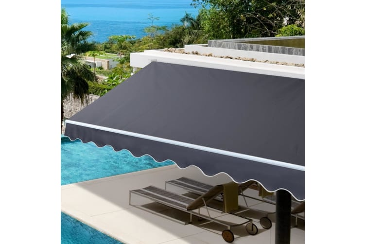 Instahut 2.5M x2M Grey Outdoor Folding Arm Awning Retractable Sunshade Canopy Support