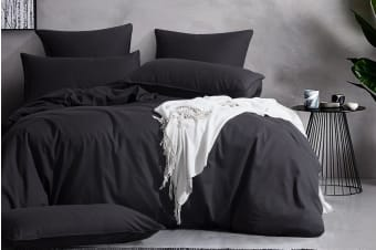 Gioia Casa Corduroy Quilt Cover Set (Queen/Charcoal)