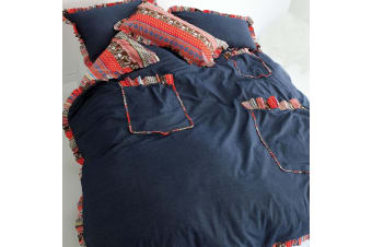 Chambray Pocket Detail Cotton Quilt Cover Set Queen by Shuteye