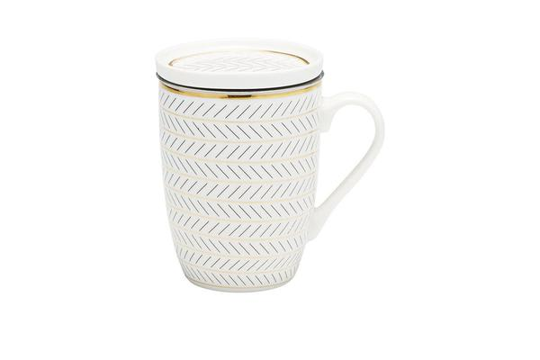 Salt & Pepper Luxe Mug with Tea Strainer & Lid Feather