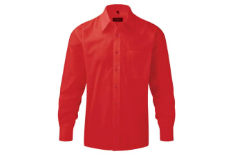 Russell Collection Mens Long Sleeve Shirt (Classic Red)