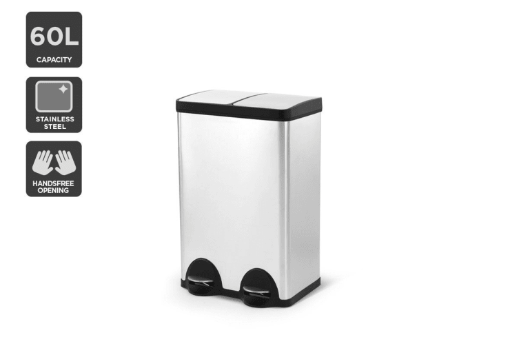 Kogan 60L Dual Compartment Stainless Steel Garbage Bin