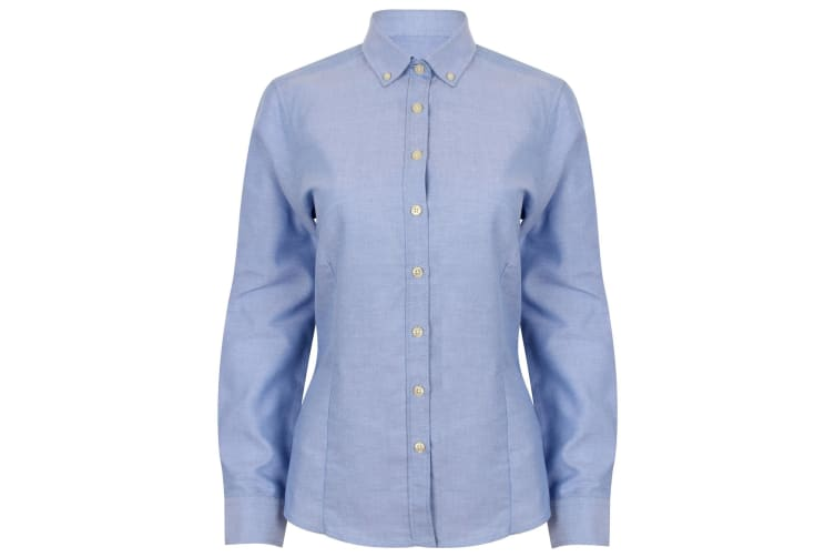 Henbury Womens/Ladies Modern Long Sleeve Oxford Shirt (Blue) (XS)
