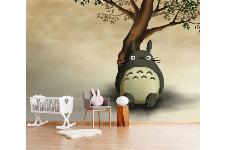 3D Totoro Leaning Against Tree 54 Anime Wall Murals Woven paper (need glue), XXL 312cm x 219cm (WxH)(123''x87'')