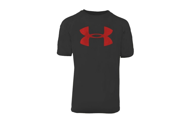 Under Armour Boys' UA Tech Big Logo S/S T-Shirt (Black/Red, Size XS)
