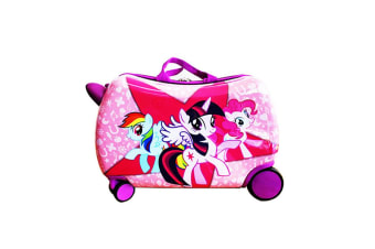 Skyair Kids Ride On Luggage Rolling Suitcase Carry Toy Box Hardcase Pink Swivel