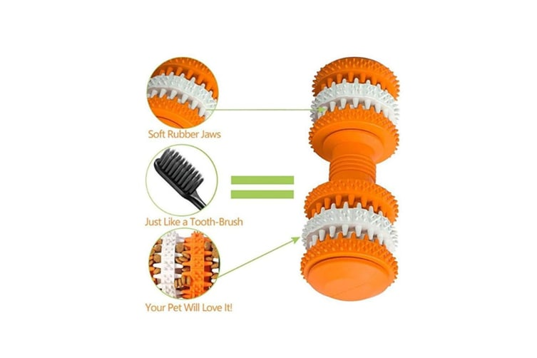 Teething Chew Puzzle Dumbbell Fetch Food Massage Grinding Toy Light Biue S