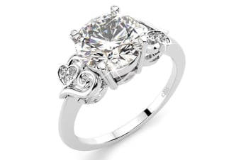.925 Simulated Diamond Ring-Silver Size US 8