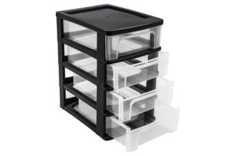 4 Tier Black Drawer Desktop Cabinet Storage Organiser Office Stationery 24.5cm WM