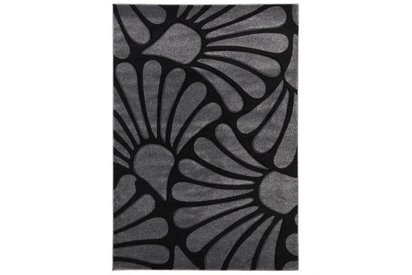 Damask Modern Fern Rug Charcoal Black 170x120cm