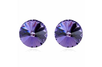 Apex Krystal Studs IV w/Swarovski Crystals-White Gold/Purple