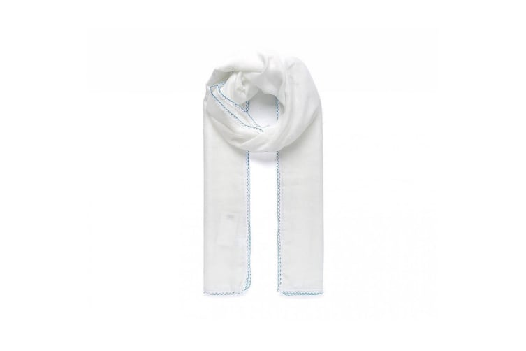 Intrigue Womens/Ladies Contrast Crochet Trim Scarf (White) (One Size)