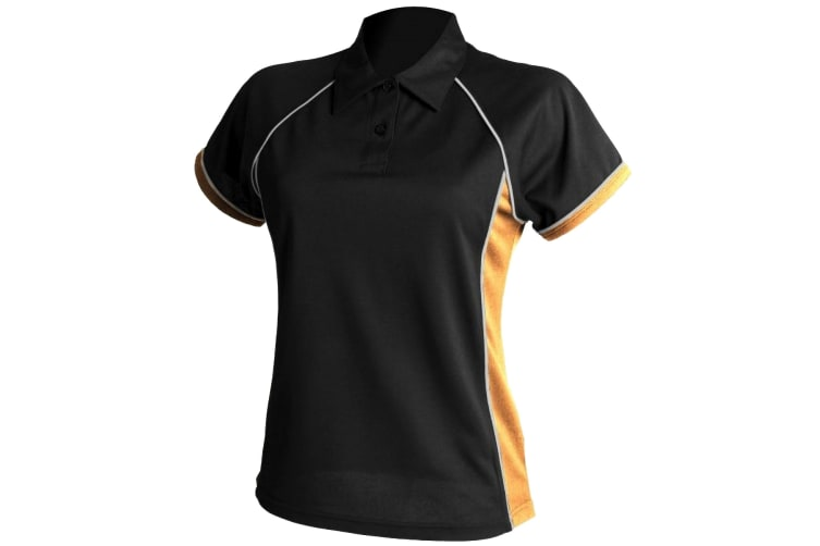 Finden & Hales Womens Coolplus Piped Sports Polo Shirt (Black/ Amber/ White) (L)