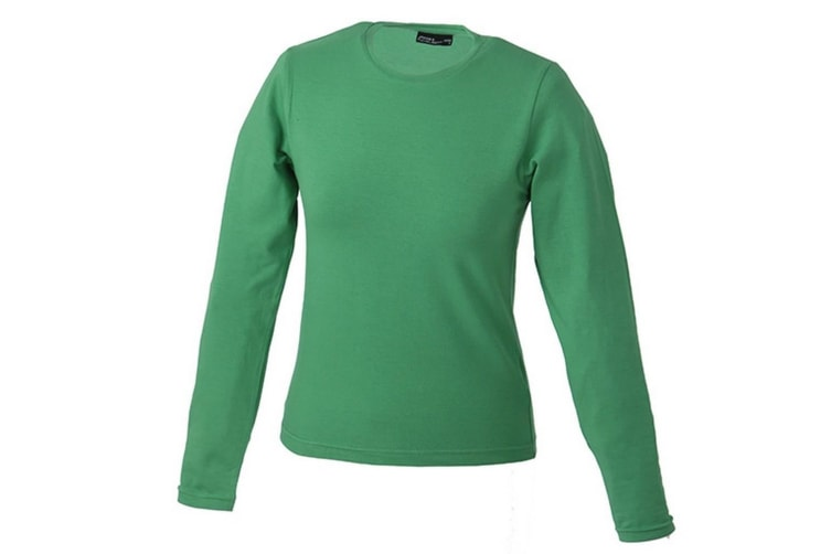 James and Nicholson Womens Long-Sleeved Tangy Tee (Green) (M)