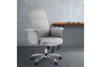 Artiss Fabric Office Chair Task Side Conference Computer Desk Chairs Seat Grey