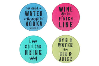 Something Different Slogan Glass Coasters (Multicolour) (One Size)