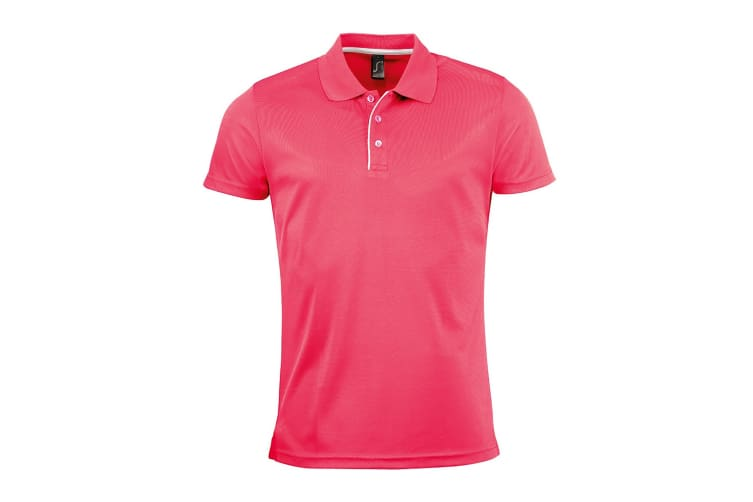 SOLS Mens Performer Short Sleeve Pique Polo Shirt (Neon Coral) (M)