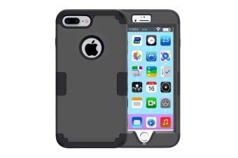 For iPhone 8 PLUS 7 PLUS Case Stylish Triple Layer Armour Protective Cover Black